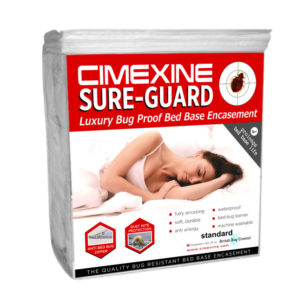 Bed bug and proof and waterproof bed base encasement from Cimexine Sure-Guard.